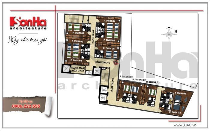 Mặt bằng công năng tầng 4 đến 5 khách sạn hiện đại tại Đà Nẵng SH KS 0038