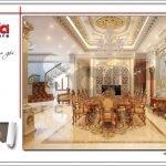 Thiết kế nội thất phòng bếp ăn biệt thự lâu đài 3 tầng mặt tiền rộng tại Quảng Ninh sh btld 0027