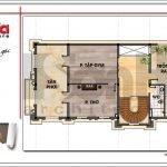 Mặt bằng công năng tầng tum biệt thự lâu đài 2 tầng đẹp tại Lạng Sơn sh btld 0028