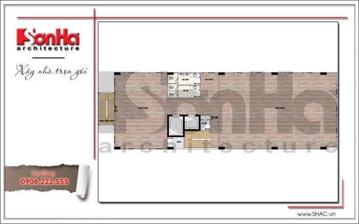 Mặt bằng công năng tầng 4 5tòa nhà văn phòng kiến trúc Pháp tại Sài Gòn sh vp 0029