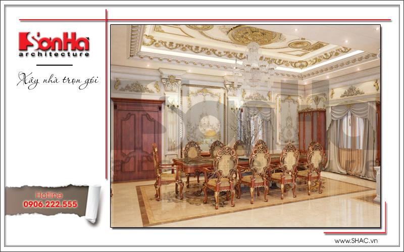 Mẫu nội thất phòng bếp ăn đẹp biệt thự lâu đài 3 tầng mặt tiền rộng tại Quảng Ninh sh btld 0027