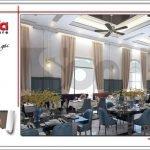Mẫu thiết kế phòng ăn đẹp nhà hàng 2 tầng kiến trúc Pháp sang trọng tại Phú Quốc sh bck 0045