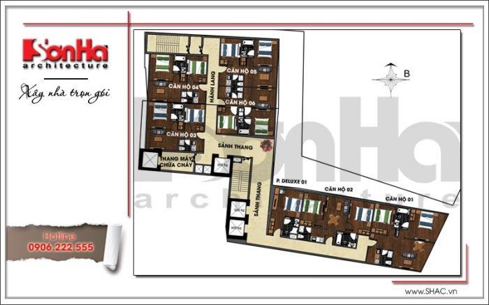 Mặt bằng công năng tầng 12 khách sạn hiện đại tại Đà Nẵng SH KS 0038