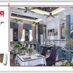 Thiết kế phòng ăn đẹp nhà hàng 2 tầng kiến trúc Pháp sang trọng tại Phú Quốc sh bck 0045
