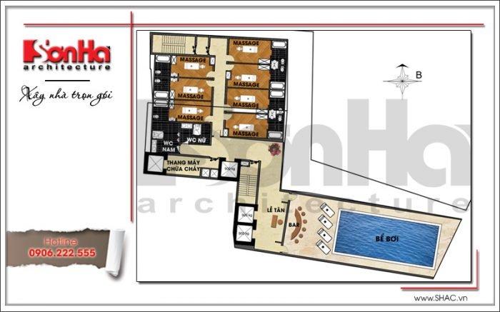 Mặt bằng công năng tầng 13 khách sạn hiện đại tại Đà Nẵng SH KS 0038