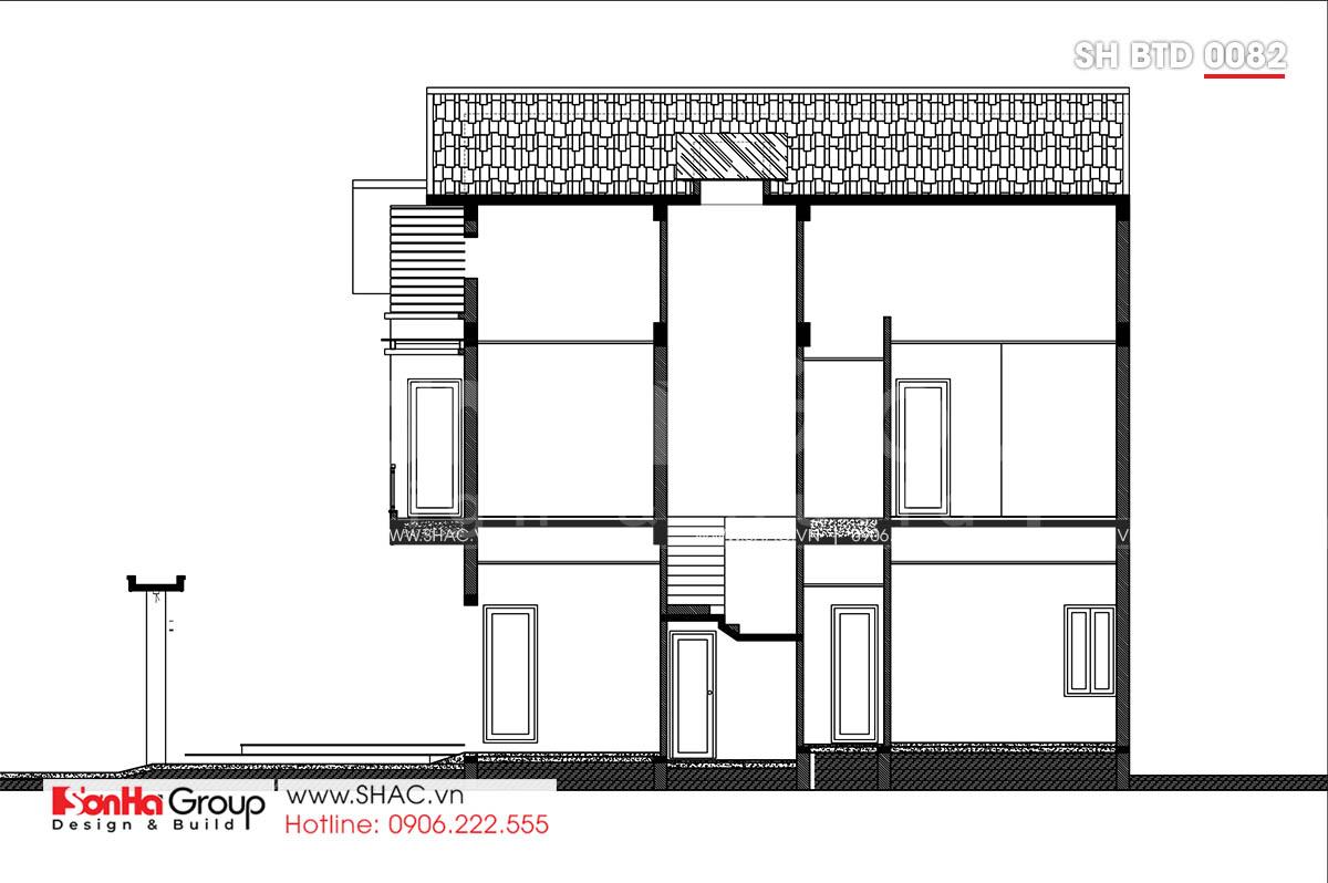 Bản vẽ mặt cắt AD biệt thự hiện đại 2 tầng mặt tiền 8m tại Hải Phòng