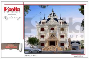 BÌA Mẫu thiết kê mặt tiền biệt thự lâu đài 3 tầng mặt tiền rộng tại Quảng Ninh sh btld 0027