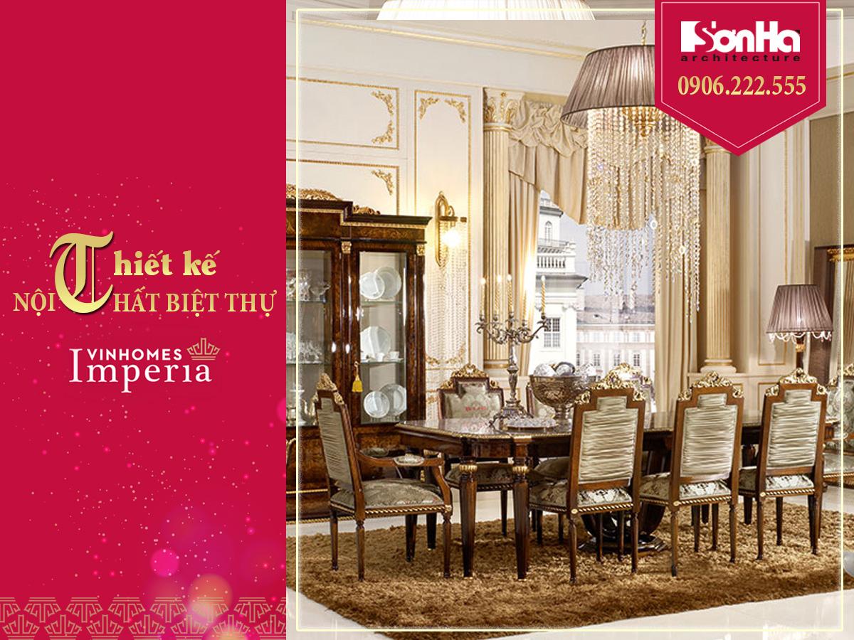 nội thất phòng ăn phong cách cổ điển vương giả