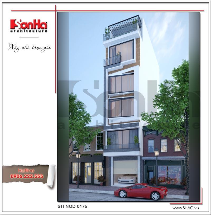 Mẫu thiết kế nhà phố hiện đại 6 tầng mặt tiền đẹp tại Hà Nội – SH NOD 0175 1