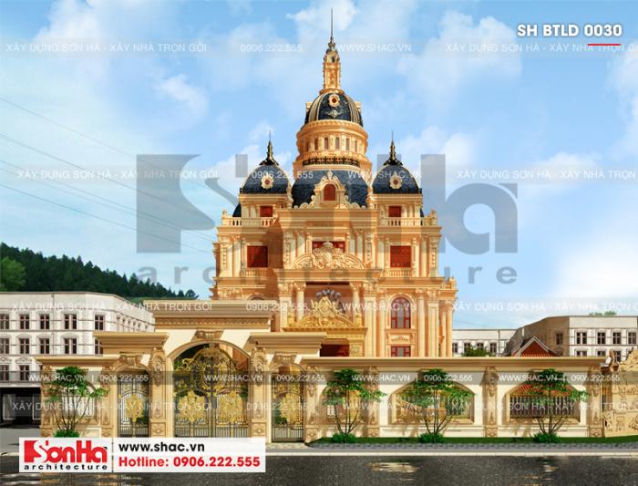 1 Thiết kế sân cổng biệt thự lâu đài 4 tầng tại hà nội sh btld 0030