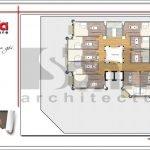 Mặt bằng công năng tầng 8 khách sạn kiến trúc Pháp tại Vĩnh Phúc sh ks 0040