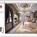 Thiết kế nội thất phòng ngủ đẳng cấp biệt thự lâu đài tại Hà Nội sh btld 0030