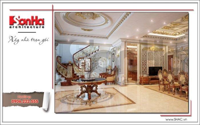 Thiết kế sảnh tầng 1 biệt thự cổ điển Pháp tại Quảng Ninh sh btp 0113