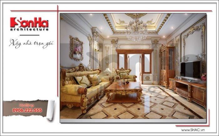 Mẫu Thiết kế sảnh tầng 2 biệt thự cổ điển Pháp tại Quảng Ninh sh btp 0113