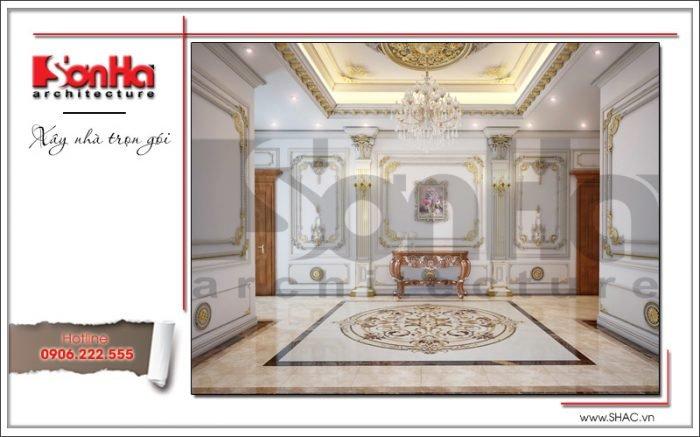 Mẫu Thiết kế sảnh tầng 3 biệt thự cổ điển Pháp tại Quảng Ninh sh btp 0113
