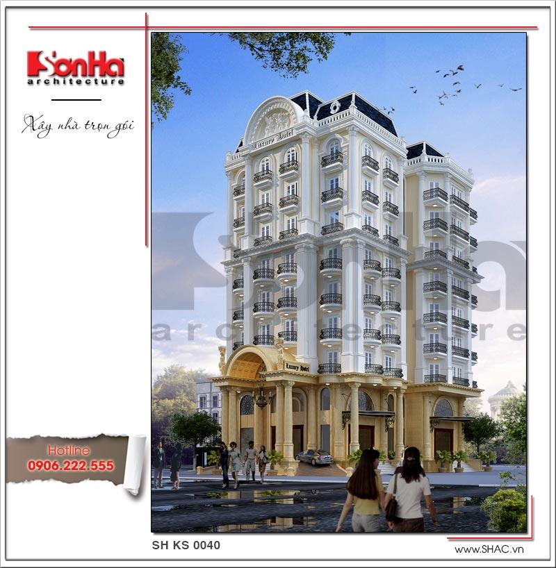 Mẫu thiết kế khách sạn kiến trúc Pháp tiêu chuẩn 4 sao sang trọng tại Vĩnh Yên – SH KS 0040 1