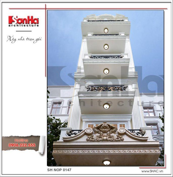 Mẫu kiến trúc mặt tiền nhà ống kiến trúc Pháp tại Sài Gòn sh nop 0147