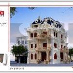 Mẫu thiết kế kiến trúc biệt thự cổ điển Pháp tại Quảng Ninh sh btp 0113