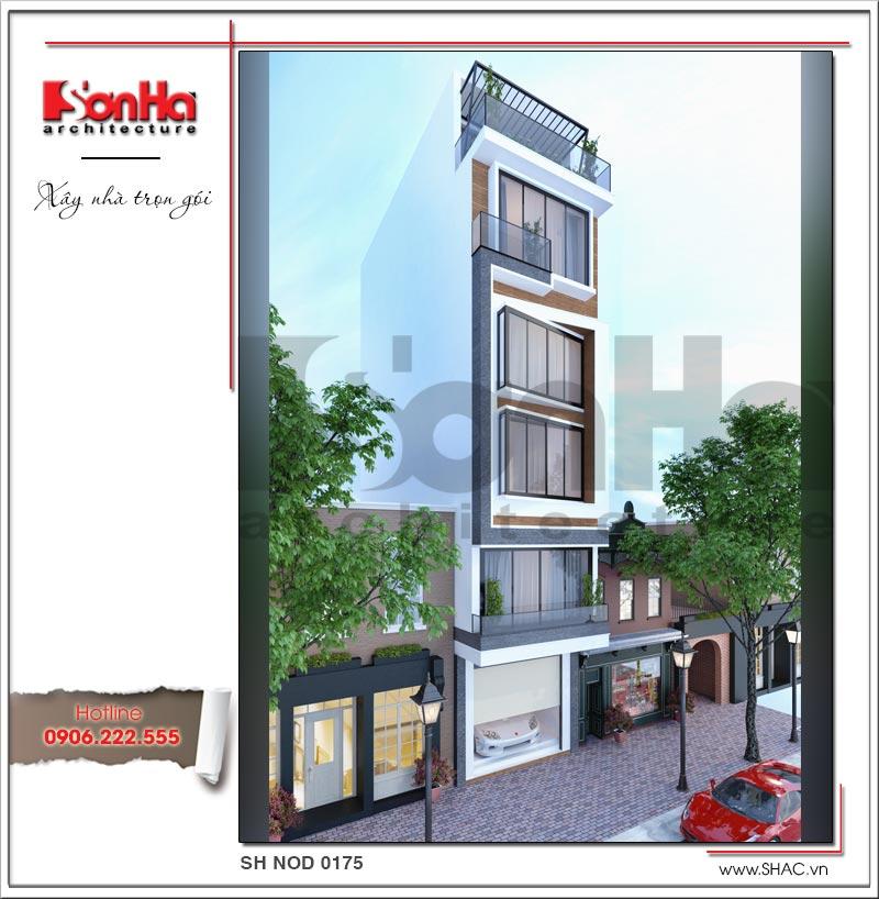 Mẫu thiết kế nhà phố hiện đại 6 tầng mặt tiền đẹp tại Hà Nội – SH NOD 0175 2