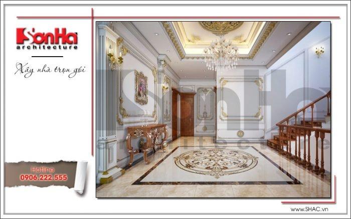 Thiết kế sảnh tầng 3 biệt thự cổ điển Pháp tại Quảng Ninh sh btp 0113