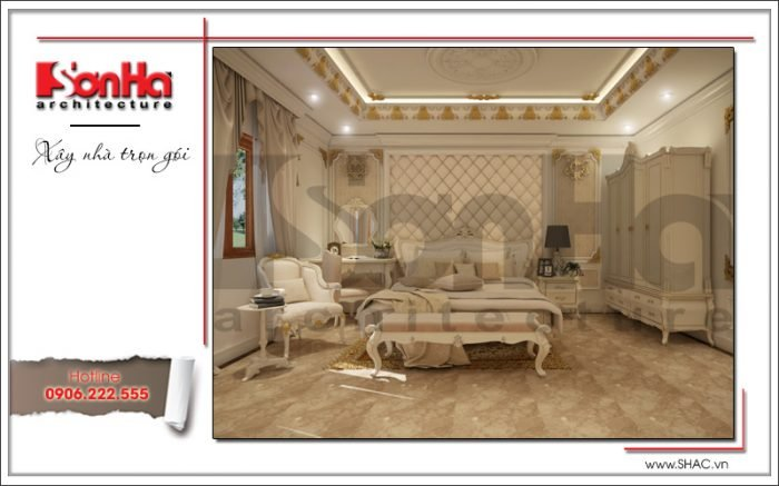 Mẫu thiết kế phòng ngủ 1 biệt thự cổ điển Pháp tại Quảng Ninh sh btp 0113