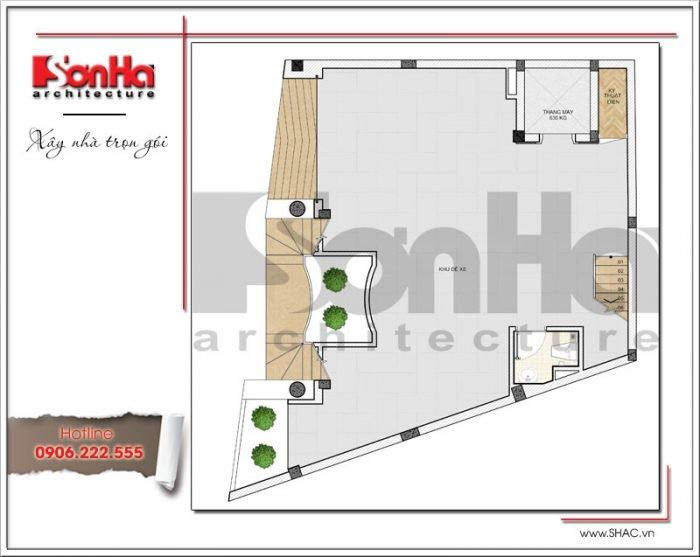Mặt bằng công năng tầng 1 tòa nhà văn phòng tại Hà Nội sh vp 0030