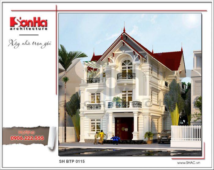 Mẫu thiết kế kiến trúc biệt thự Pháp mái ngói đỏ tại Hưng Yên sh btp 0115