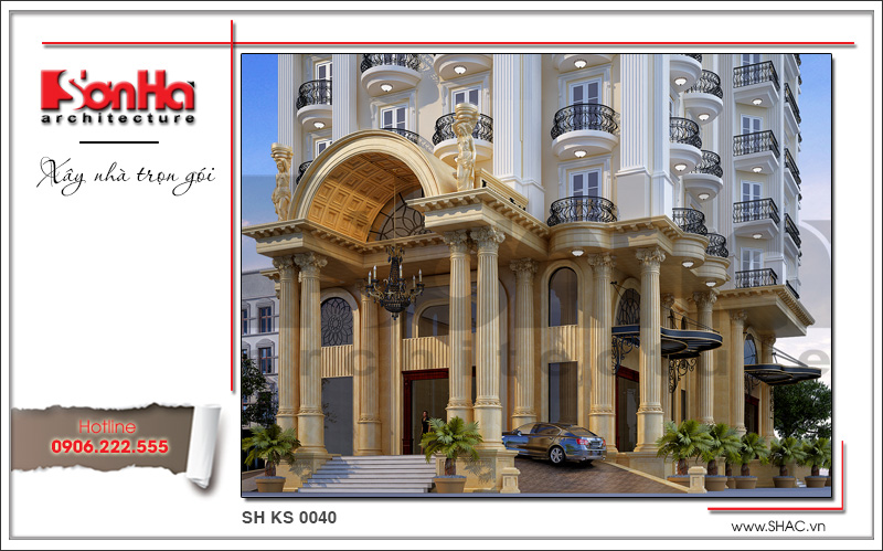 Mẫu thiết kế khách sạn kiến trúc Pháp tiêu chuẩn 4 sao sang trọng tại Vĩnh Yên – SH KS 0040 3