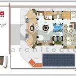 Mặt bằng công năng tầng 1 khách sạn kiến trúc Pháp tại Vĩnh Phúc sh ks 0040