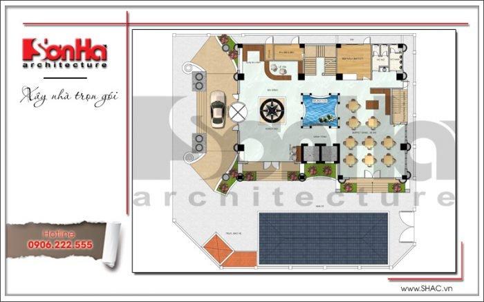 Bản vẽ mặt bằng công năng tầng 1 mẫu thiết kế khách sạn tiêu chuẩn 4 sao kiểu Pháp