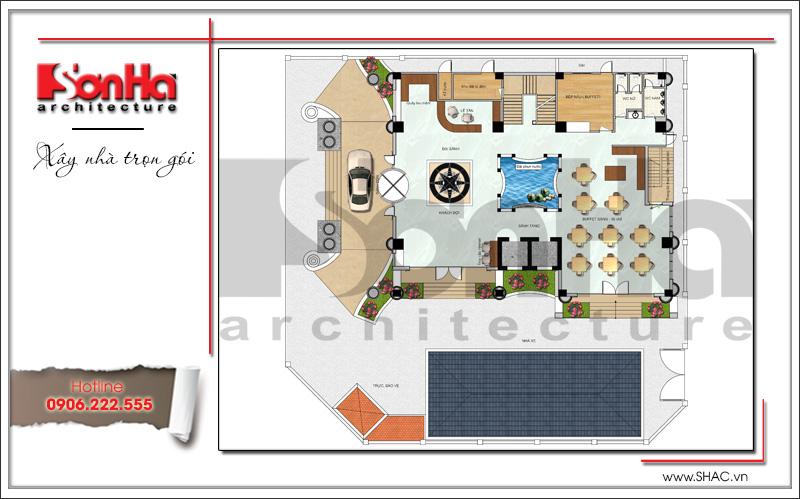 Mẫu thiết kế khách sạn kiến trúc Pháp tiêu chuẩn 4 sao sang trọng tại Vĩnh Yên – SH KS 0040 14