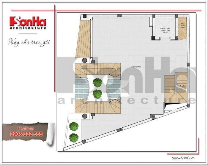 Mặt bằng công năng tầng lửng tòa nhà văn phòng tại Hà Nội sh vp 0030