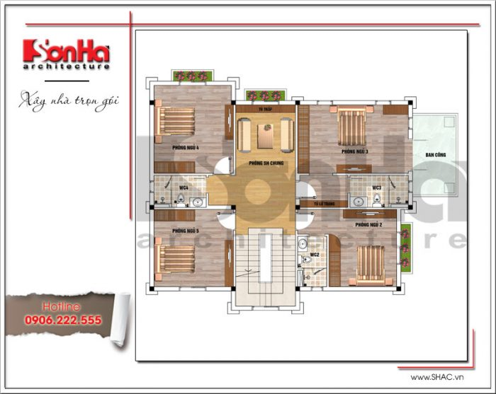 Mặt bằng công năng tầng 2 biệt thự Pháp mái ngói đỏ tại Hưng Yên sh btp 0115