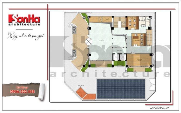 Mặt bằng công năng tầng lửng khách sạn kiến trúc Pháp tại Vĩnh Phúc sh ks 0040