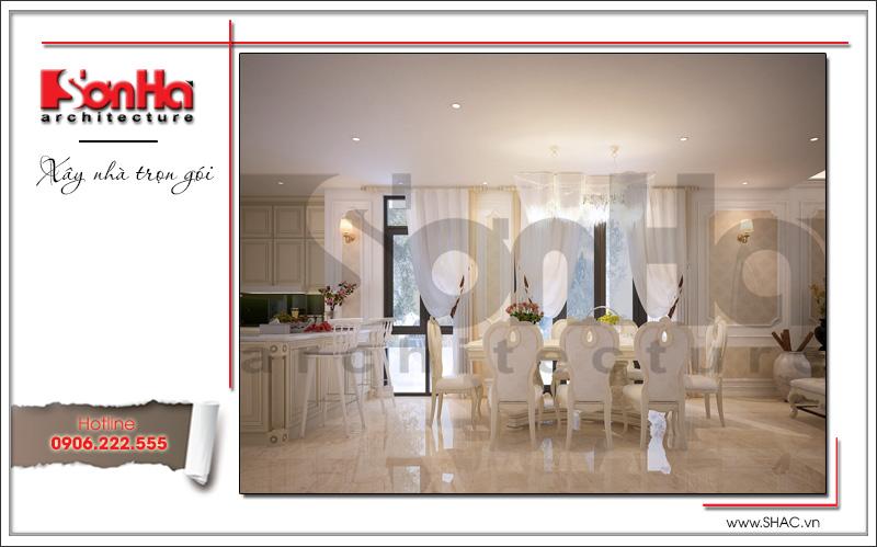 nội thất phòng ăn kiểu cổ điển đẹp của biệt thự