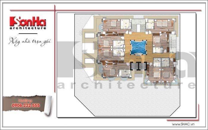 Bản vẽ mặt bằng công năng tầng 2 của khách sạn tiêu chuẩn 4 sao kiến trúc Pháp