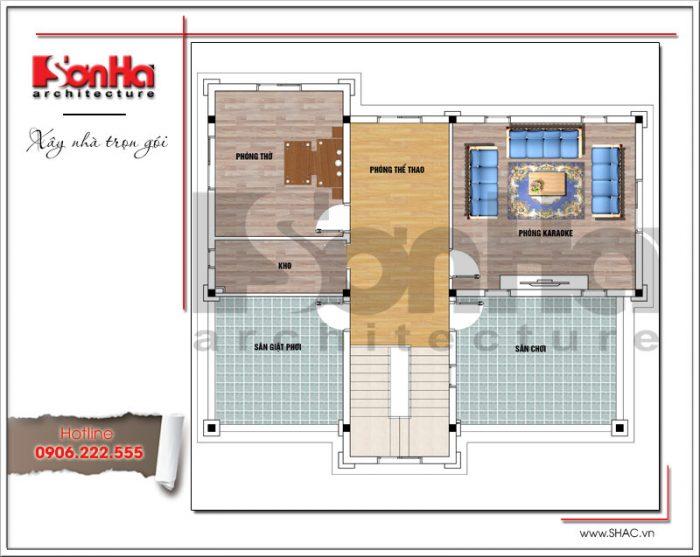 Mặt bằng công năng tầng 3 biệt thự Pháp mái ngói đỏ tại Hưng Yên sh btp 0115