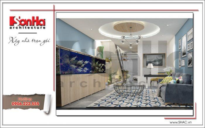 Thiết kế phòng khách nhà ống hiện đại tại Hà Nội sh nod 0175