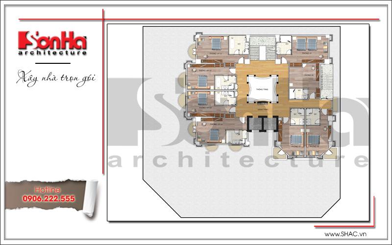 Mẫu thiết kế khách sạn kiến trúc Pháp tiêu chuẩn 4 sao sang trọng tại Vĩnh Yên – SH KS 0040 17