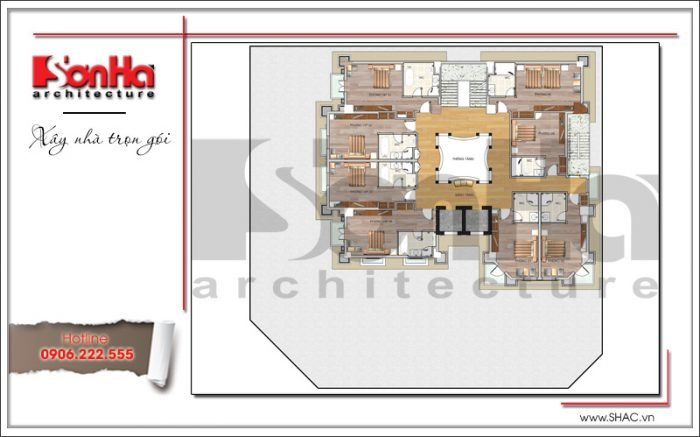 Mặt bằng công năng tầng 6 khách sạn kiến trúc Pháp tại Vĩnh Phúc sh ks 0040
