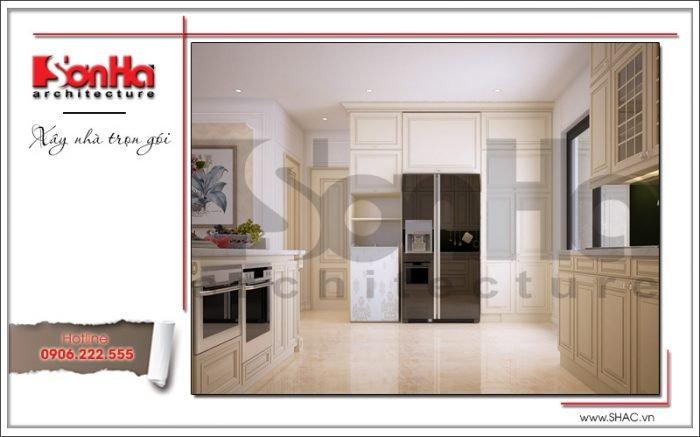 nội thất phòng ăn và tủ bếp biệt thự cổ điển