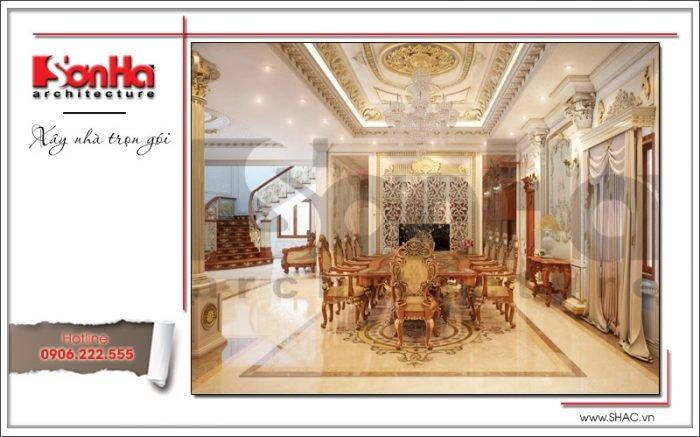 Thiết kế phòng bếp ăn biệt thự cổ điển Pháp tại Quảng Ninh sh btp 0113