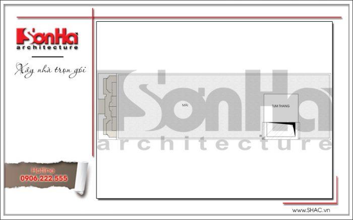 Mặt bằng công năng tầng mái nhà ống kiến trúc Pháp tại Sài Gòn sh nop 0147