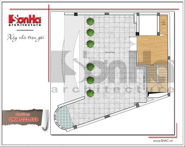Mặt bằng công năng tầng tum tòa nhà văn phòng tại Hà Nội sh vp 0030