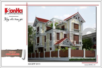 BÌA Thiết kế kiến trúc biệt thự cổ điển 3 tầng tại Quảng Ninh sh btp 0111