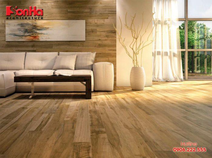 Sàn gỗ công nghiệp trong thi công nội thất biệt thự và nhà phố hiện đại