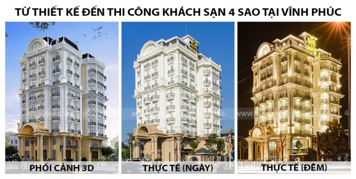 Từ thiết kế đến thi công khách sạn 4 sao kiến trúc Pháp tại VĨnh Phúc SH KS 0040