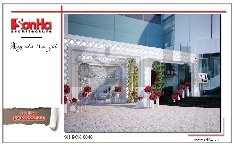 Thiết kế nội thất nhà hàng tiệc cưới phong cách cổ điển tại TD Plaza Hải Phòng - BCK 0046 1