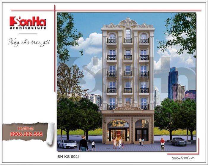 Thiết kế khách sạn tiêu chuẩn 3 sao 7 tầng cổ điển tại Hưng Yên sh ks 0041