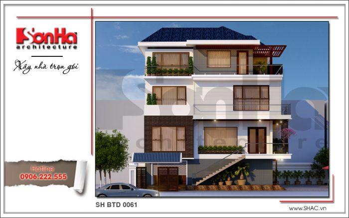 mẫu thiết kế kiến trúc biệt thự hiện phương án 2 đại sh btd 0061